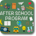 "Image that reads ""after school program"" surrounded by pictures of school-related items and activities"